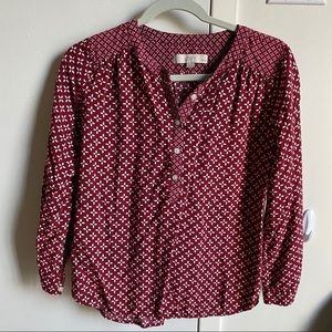 LOFT Patterned Henley Blouse Size Small Petite